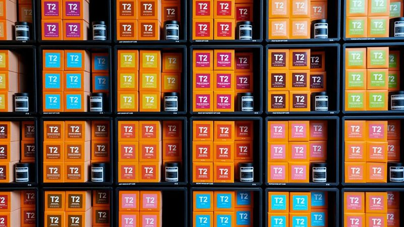 Shelves filled with a variety of T2 branded boxes