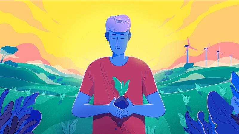 An illustration of a man holding a plant in his hands