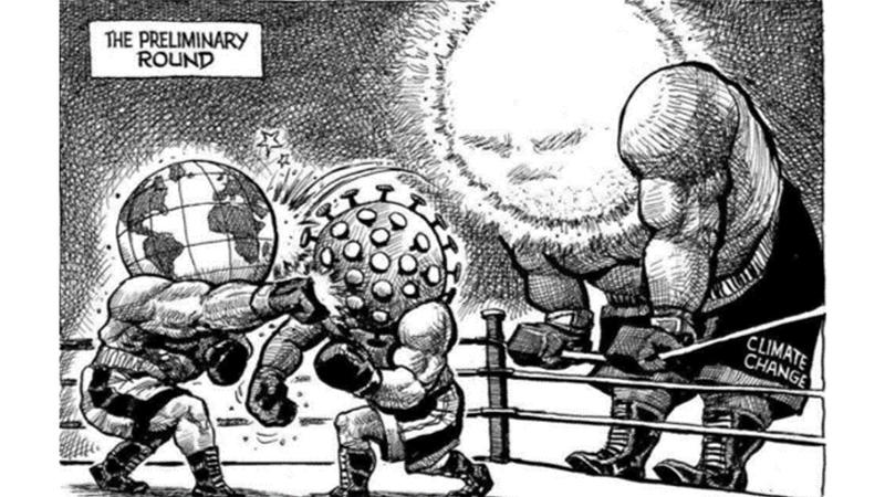 Fictional cartoon illustration of Climate change and COVID-19 in a boxing ring