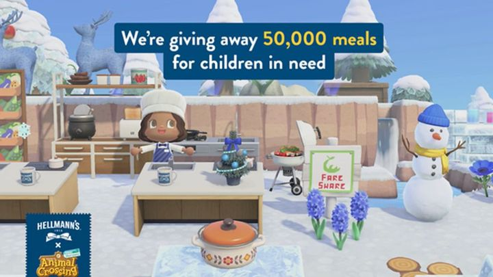 An image of Hellmann's partnership with Animal Crossing to provide 50,000 meals for children in need.