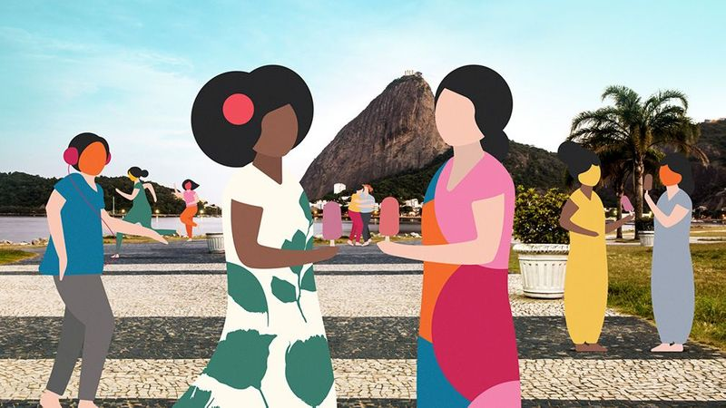 Illustration of people socializing outdoors