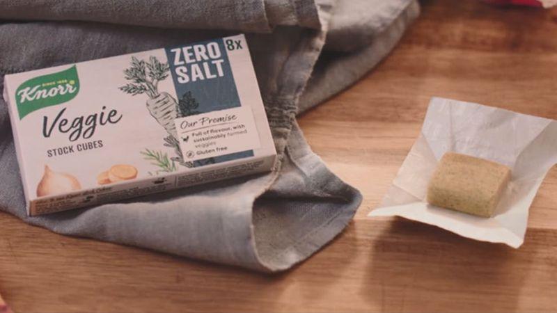A box of Knorr Veggie 0 Salt Bouillon cubes