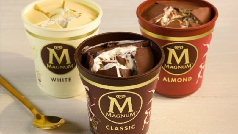 An image of three flavour magnum tubs- classic chocolate, almond and white chocolate.