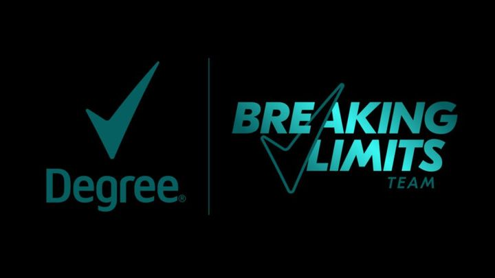 """Degree logo on black background next to graphic that says """"Breaking Limits Team"""""""