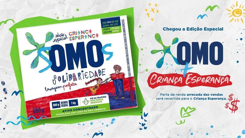 Nova embalagem Omo em parceria com o Criança Esperança com a chamada da campanha para doações