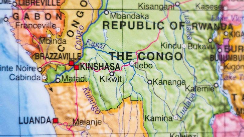 colourful map of the democratic republic of the congo