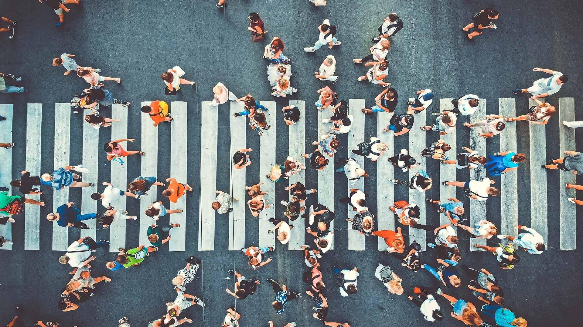 People crossing a road