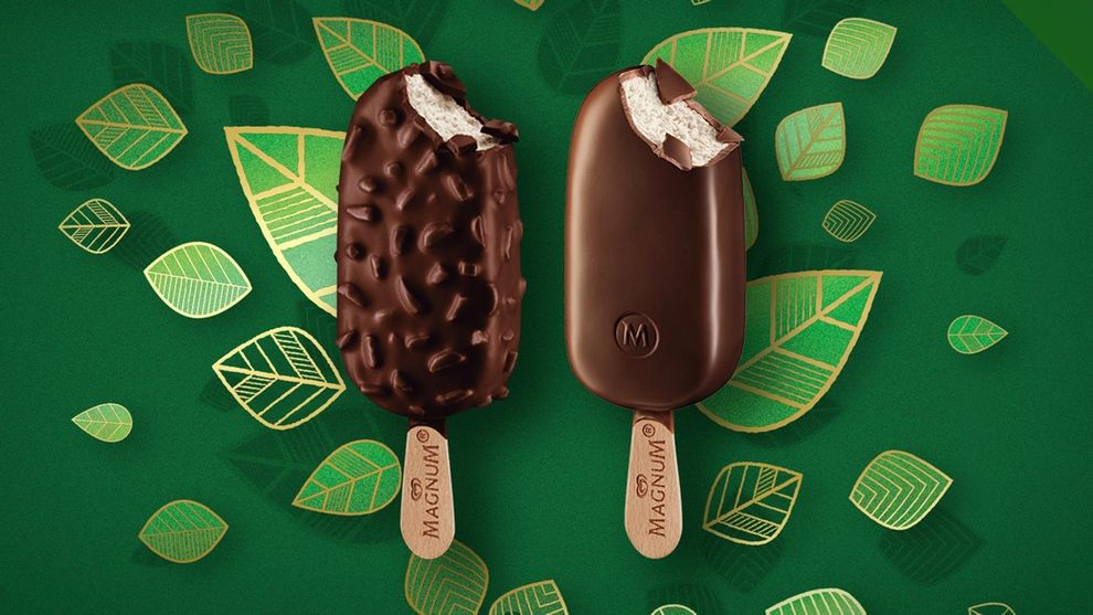 Two Vegan Magnums on a green leafy background