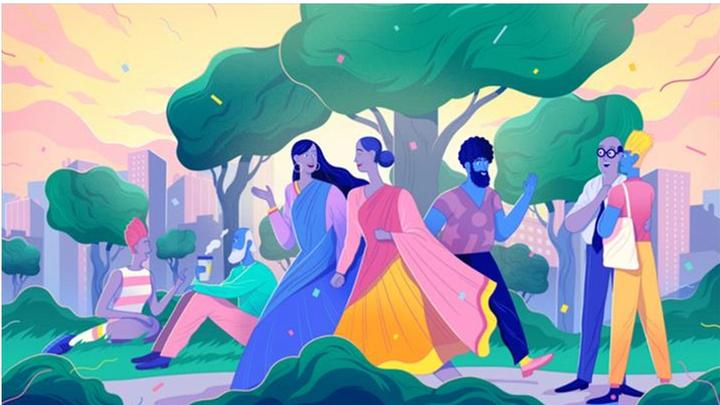 Minorities Illustration featuring a diverse mix of people mingling within a park