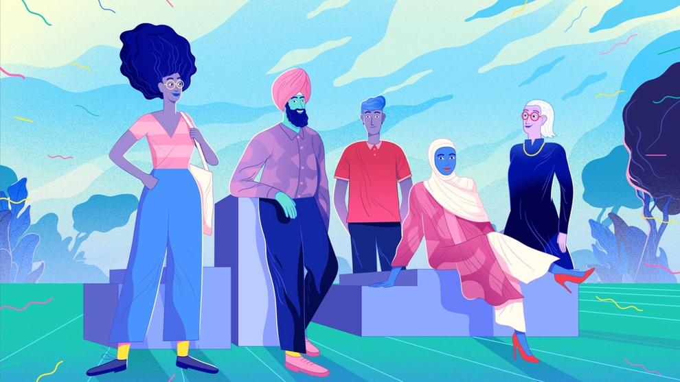 An illustration of three women and two men from multicultural backgrounds together against a landscape background