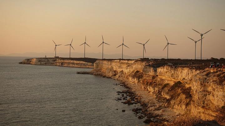 Turbines on a coastline