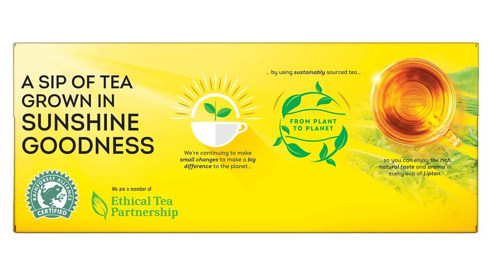 Lipton tea artwork with Ethical Tea Partnership logo