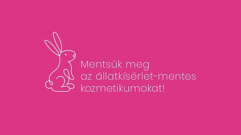 rózsaszín háttéren szöveg és egy nyuszi grafika