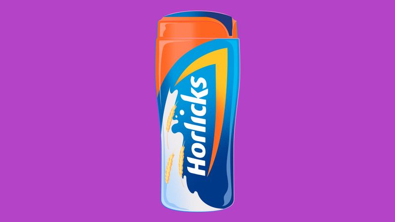 An illustration of a pack of Horlicks against a purple background
