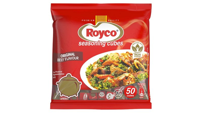 Packet of Knorr/Royco beef cubes with iron.