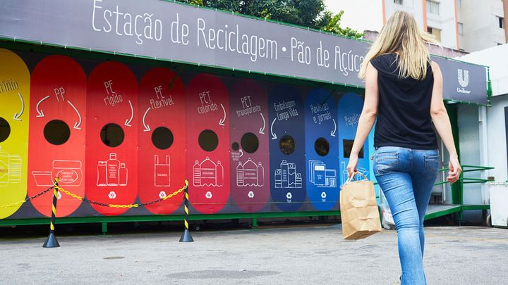 Customer at a Unilever recycling station in Sao Paolo, Brazil