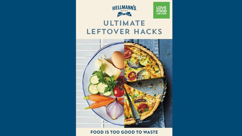 Image showing the front cover of the Hellmanns Ultimate Leftover Hacks recipe book