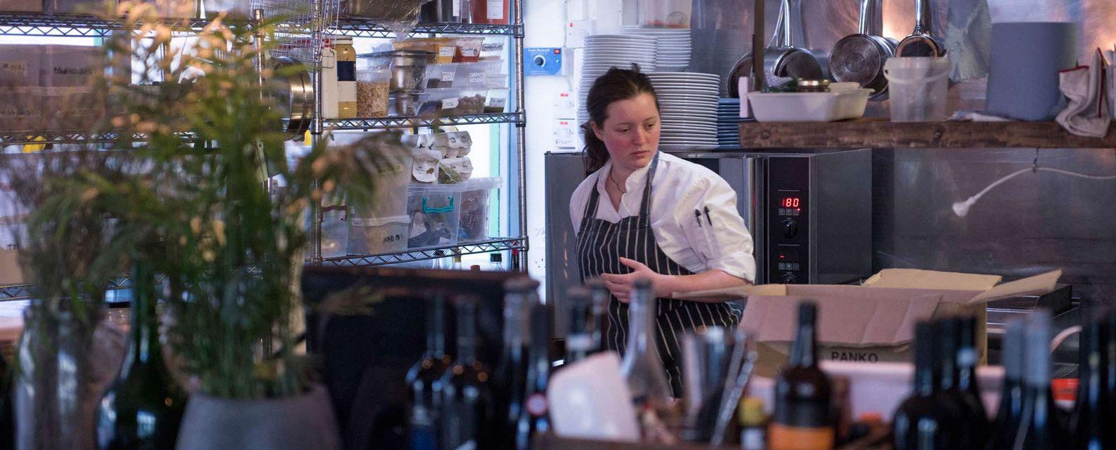 Female chef in the kitchen