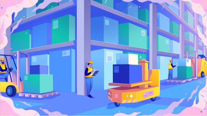 Supply chain warehouse illustration