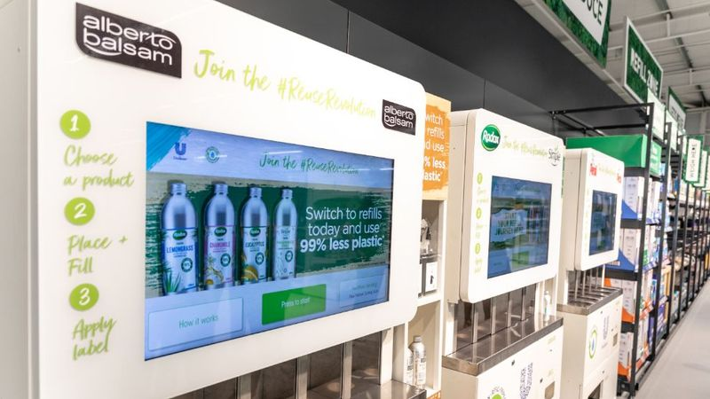 Image showing Unilever's refill stations in the new ASDA Middleton store