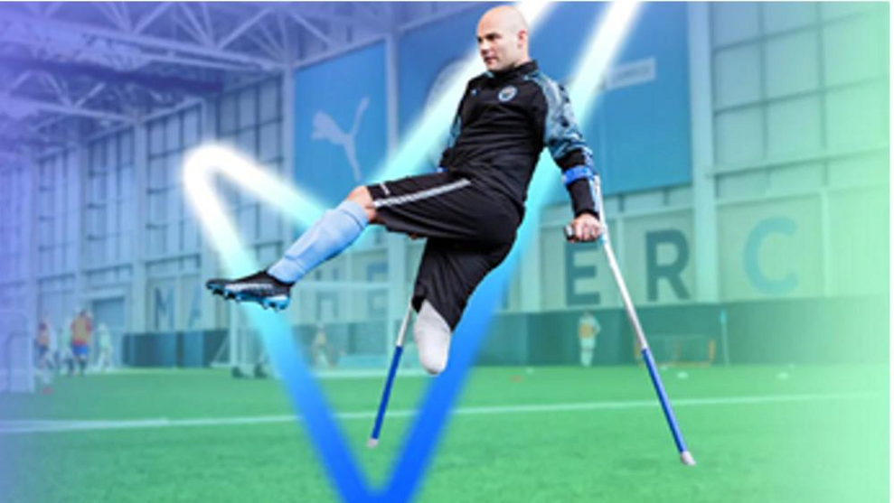 An individual using crutches being able to participate in football