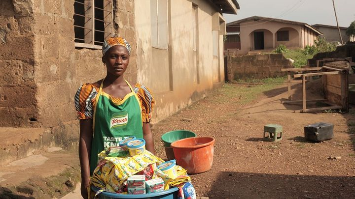 Woman selling Knorr products