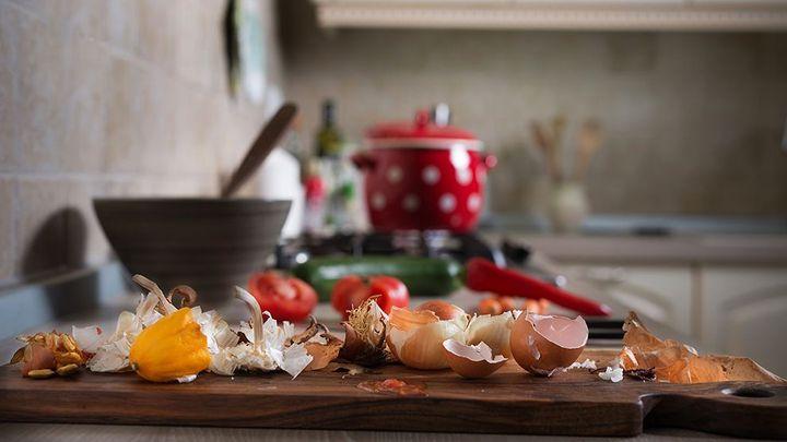 Food waste in a kitchen