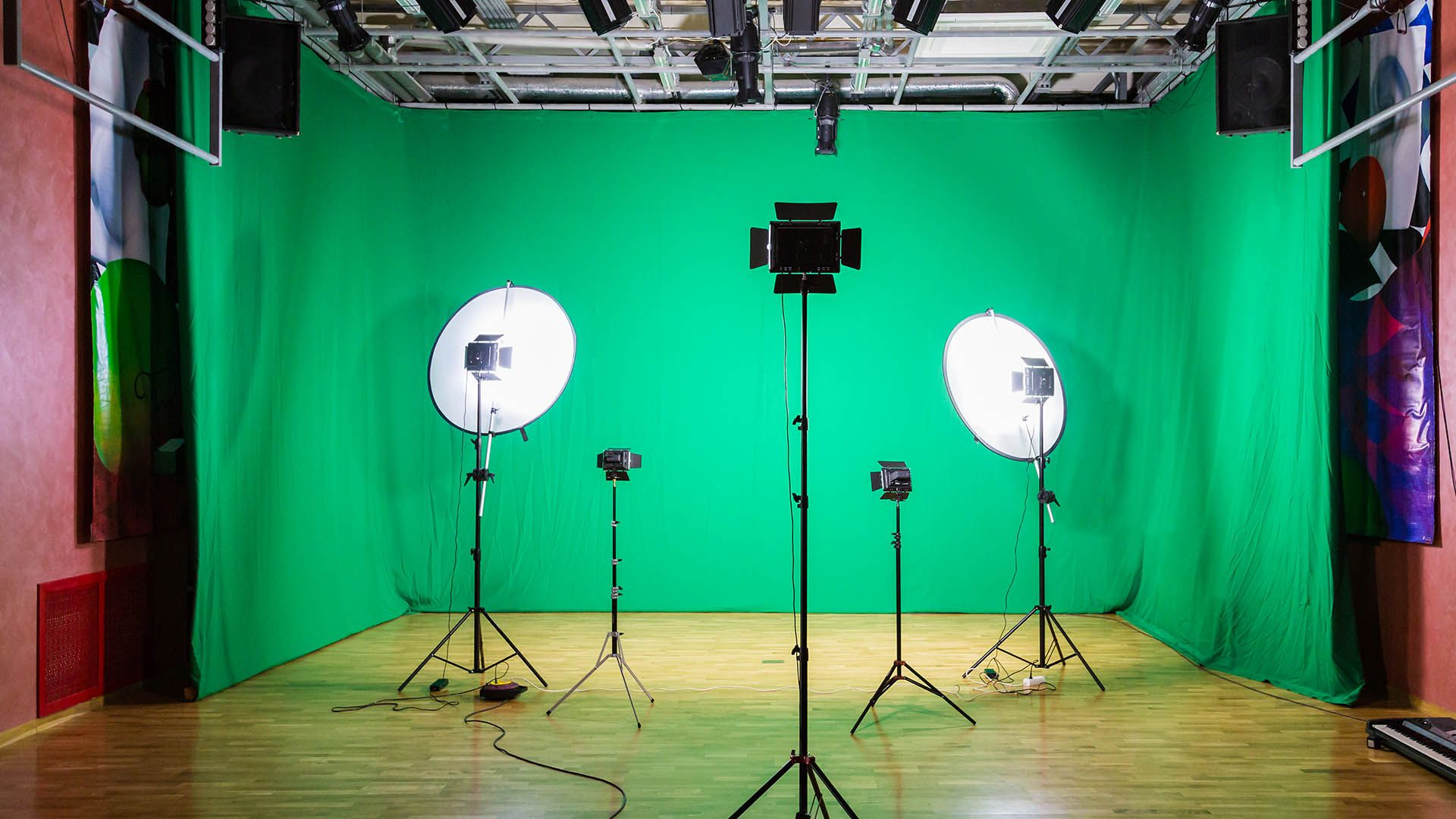 Lights and cameras in a studio