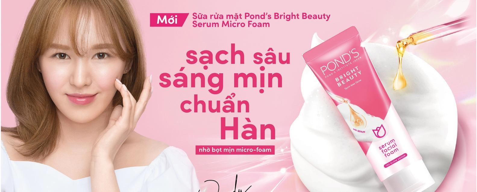 Sữa rửa mặt Pond's Bright Beauty  - Bọt mịn sạch sâu sáng mịn chuẩn Hàn