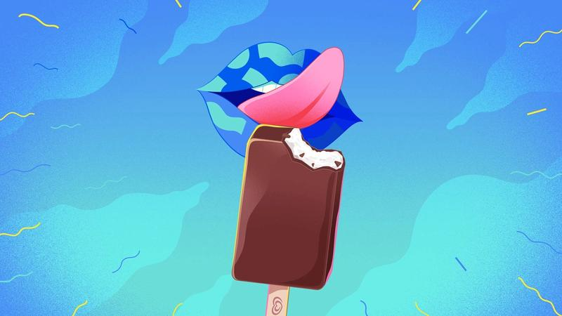 An illustration of a chocolate and vanilla ice cream being licked by a pink tongue