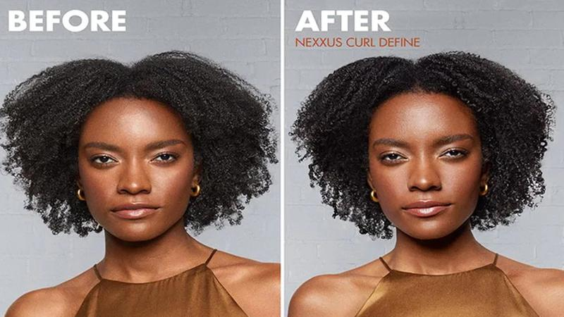 Two images of a women before and after using the Curl Define product range