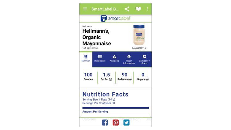 Screenshot of Smartlabel app