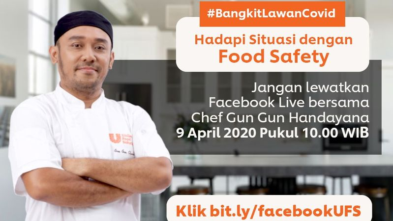 Chef with folded arms. UFS Indonesia's Chef Gun Gun has been hosting Facebook Live talks