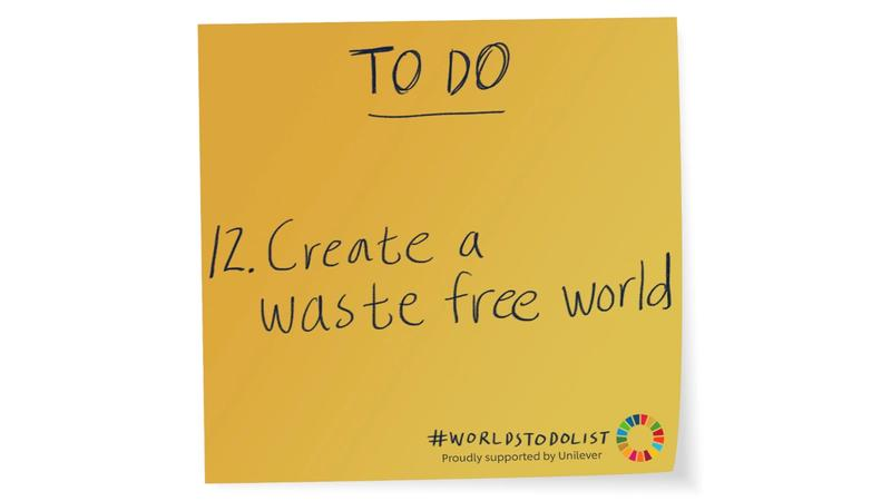 Mustard coloured sticky note with Create a waste free world written on it