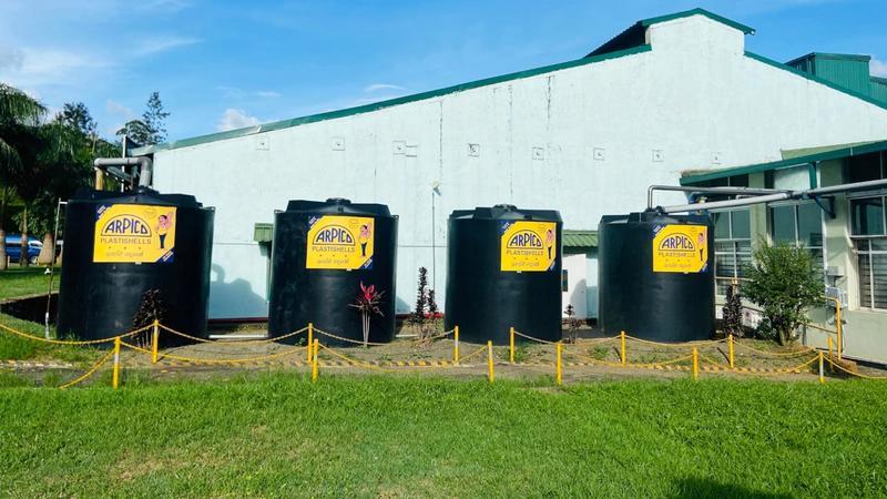 Rainwater harvesting tanks at Ceytea Factory