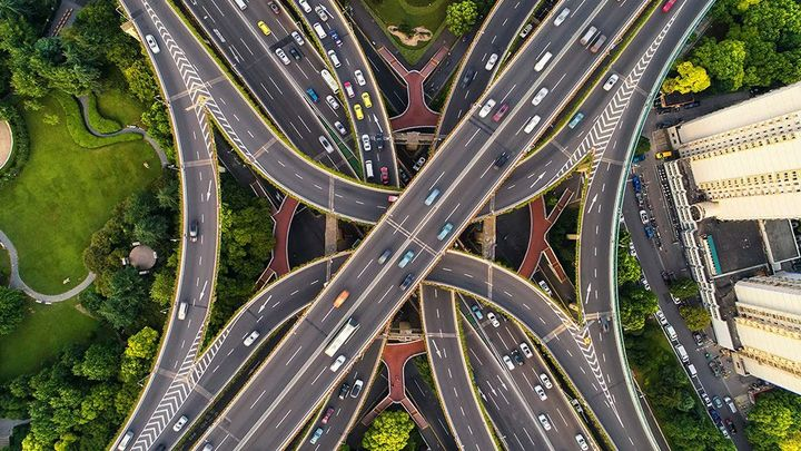 Complex motorway junction