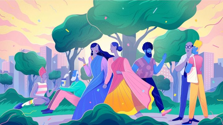 Colorful illustration of people in a park. They are walking and picnicking.