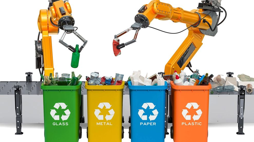 Robotic arms automatically sorting materials for recycling