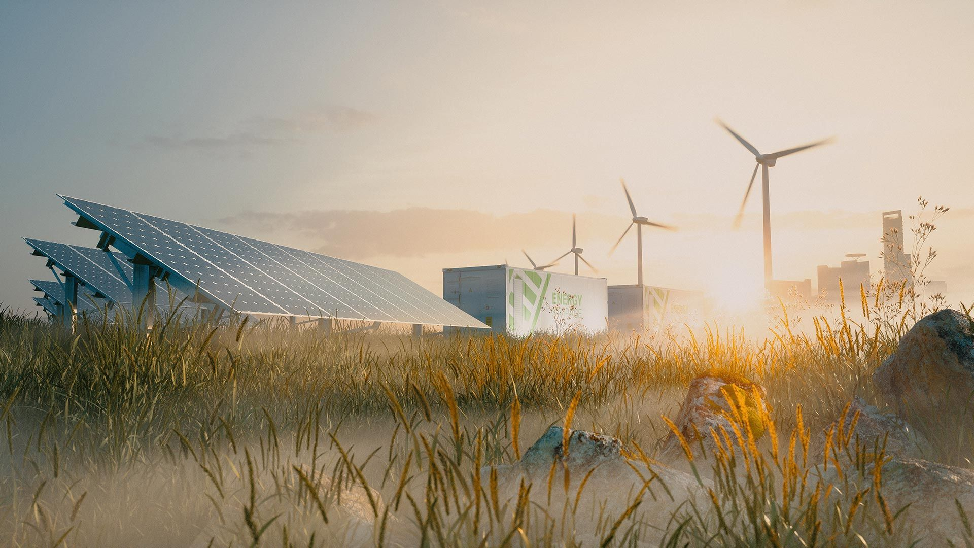 Renewable energy with solar panels and windmills