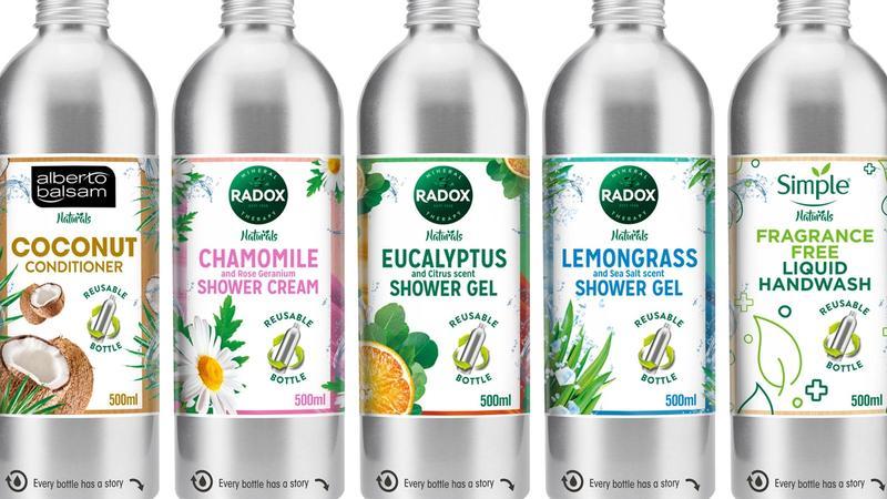 Five stainless steel bottles for Unilever brands