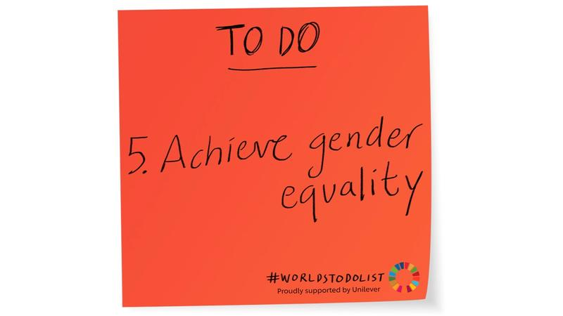 Red sticky note with Achieve gender equality written on it