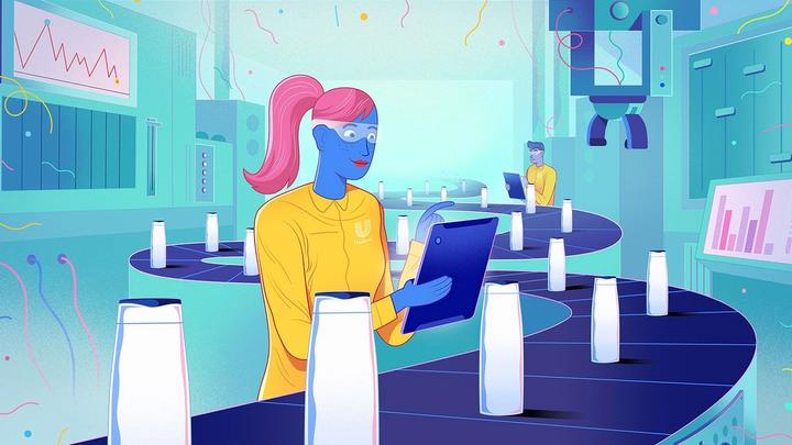 Illustration of girl working in factory. Unilever is recognised by Gartner in its 2020 Supply Chain Top 25 report.