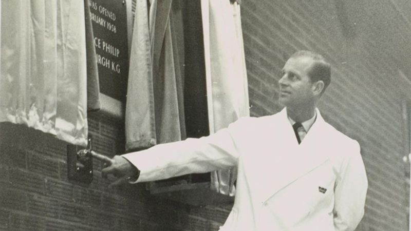 Image of His Royal Highness Prince Philip at Unilever's Wall's factory in 1958
