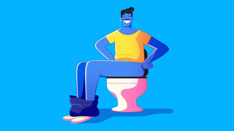 Illustration on a blue background of a smiling man sitting on a toilet