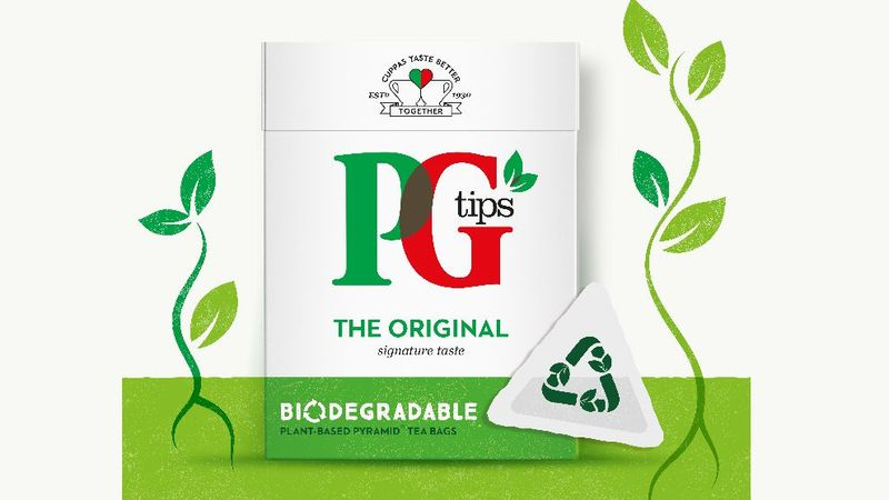 A digital image of PG Tips biodegradable tea bags and plastic wrap free packaging.