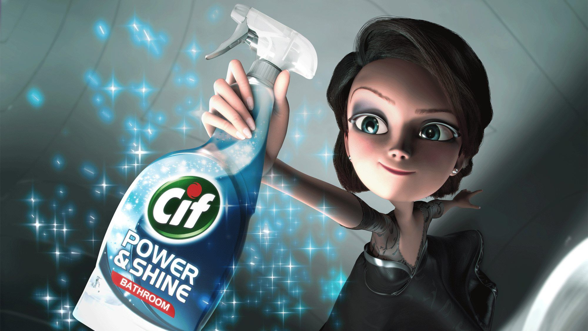 Animated Cif fairy holding cleaning spray
