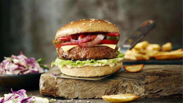 The Vegetarian Butcher's vegan burger – a meat-free quarter pounder perfect for eating in a bun with all the trimmings