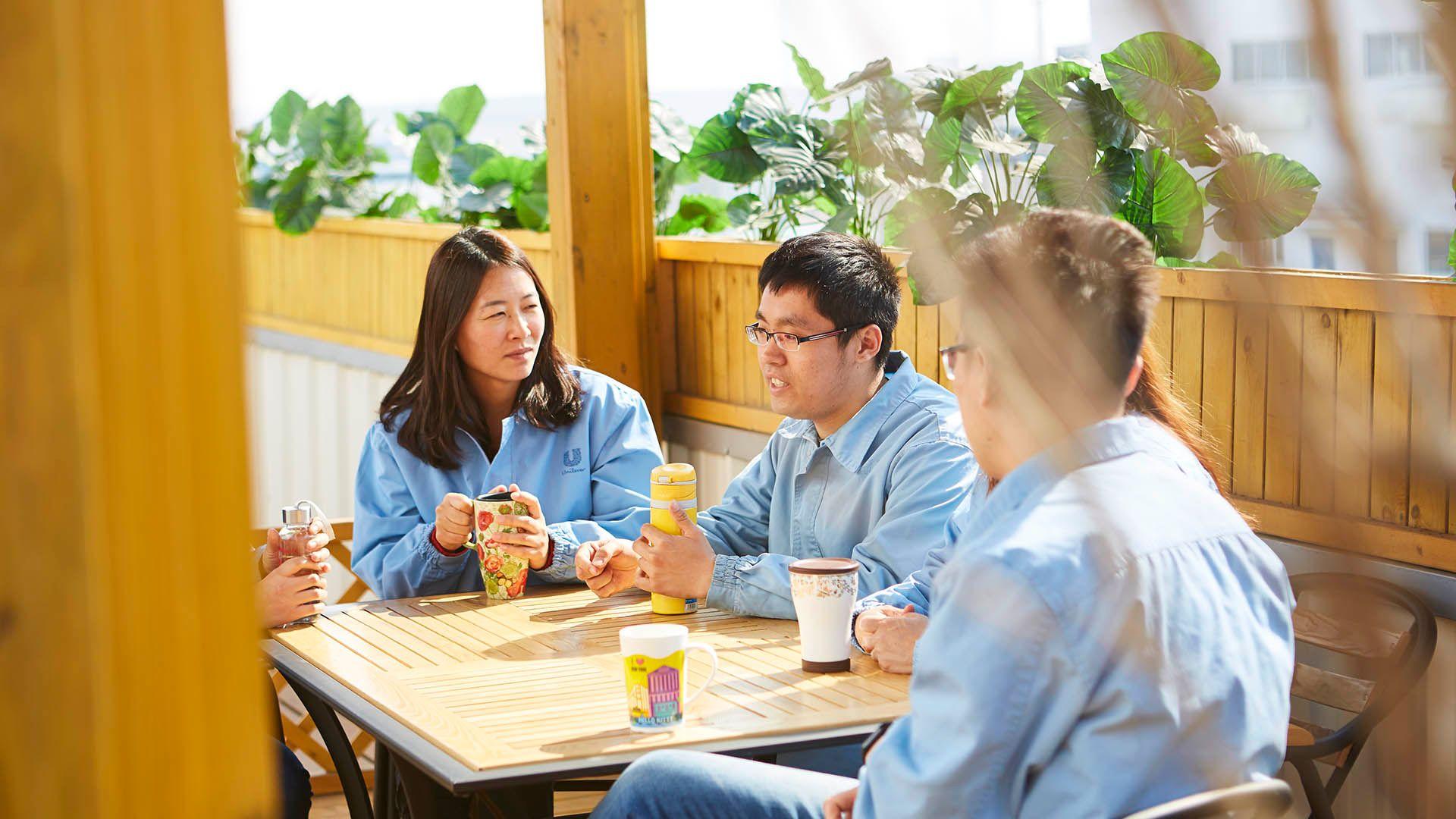 Employees taking a break in China