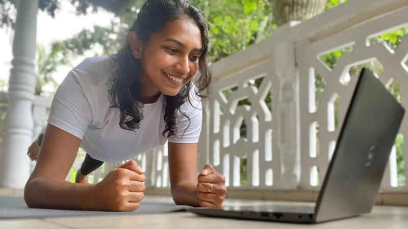 Unilever Sri Lanka employee following Fitzky fitness classes from home