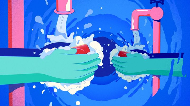 An illustration of two people washing their hands with Lifebuoy soap